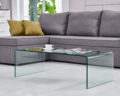 Simple Design Home Furniture Clear Tempered Bending Glass Coffee Tables