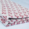 Red And White Hand Block Printed Fabric