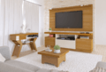 Environment with rack, TV entertainment center, coffee table and sideboard