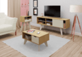 TV stand, coffee table and side table in retro style.