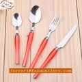 Used Restaurant Hotel Purple Plastic Handle Cutlery Tableware Set