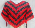 "Poncho Poncho-Crochet-Young Girl Poncho Poncho-Adulto-Handmade de 100% Wool-Height 22 ""-red Cor Pearls"