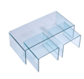 Hot-bending transparent glass corner set table