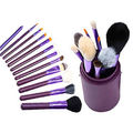 12-piece cylinder cosmetic brush with 2 colors