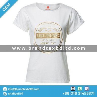 Ladiess Short Sleeve High Quality Cotton Printed T Shirt