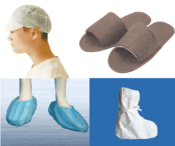Disposable nonwoven: PP  white worker cap / white or brown slipper with different sizes / PP/PE non-slip shoe cover / non-slip and waterproof boot cover