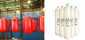 CNG steel cylinder for vehicles 356-80L in white / CNG steel cylinder for vehicles 406-90L in red / Energy saving CNG steel cylinder for vehicles 406-95L in yellow