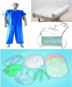 Disposable nonwoven medical scrub suits / Disposable nonwoven waterproof bedsheet with different colors / Disposable nonwoven pillow cover/case / Disposable nonwoven  surgical  face mask with band / Disposable PP nonwoven nurse cap with different colors