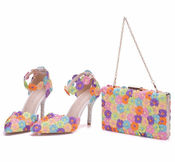Ladies heels with handbag