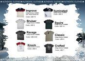 Vários modelos de t-shirts