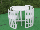 Outdoor round tables and chairs