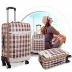 Korean PU leather suitcase with rot...