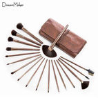 18-piece brown cosmetic brush for g...