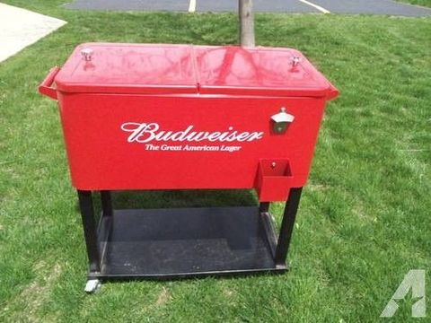 Budweiser Stainless Steel Rolling Cooler Patio Cooler With Wheels