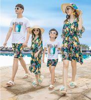 Beach-to-child summer dress lady Bohemian short-sleeved T-shirt dress travel dress -
