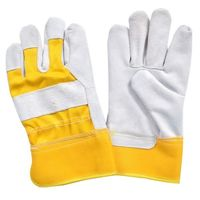 Working Gloves, Made of Split Leather, Rubber Cuff, Inside Lined -