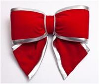 Red Velvet Bow With Silver Edge  - 25Cm - 2216 -