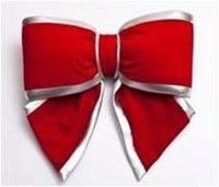 Red Velvet Bow With Silver Edge  - 30Cm - 2296 -