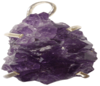 Amethyst Druzy Pendant Set In Silver -