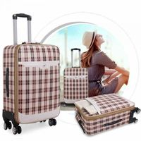 Korean PU leather suitcase with rotation heels -