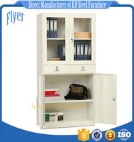 Up glass down iron file cabinets with 2 drawers in the middle -
