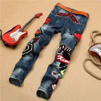 Men's straight jeans broken hole embroidery beauty badge washmen's trousers -