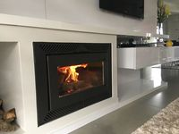 Built-in double combustion wood heater for recessed/heater/fireplace closed -