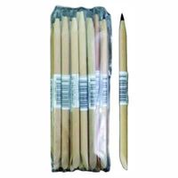 Wooden thick stick with metal tip -