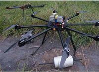 Veículo aéreo não tripulado de poder linha com dispositivo de lançamento -