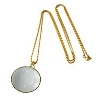 MG12092 5x Glass lens Metal Hanging Necklace Magnifier -