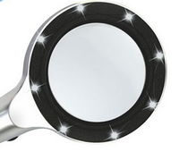 TH8010 Metal Body Glass Lens Handheld Magnifying Glass with 8 LED Lights -