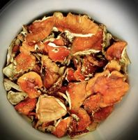 Dried caps of amanita muscaria -
