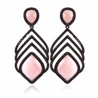 EARRING IN RHODIUM BLACK AND GUAVA JASPER STONE -
