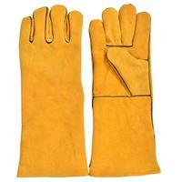 Golden Color Welding Gloves, Made of Split Leather, Inside Lining, Welted -