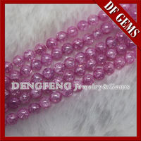 Hot sale new high quality ball shape pink color ice cz beads for bracelet -