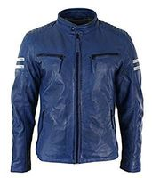 Blue Leather Motorcycle Jacket -