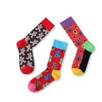 Cute Custom logo knitted happy socks jacquard colorful men fashion crazy socks -