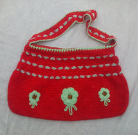 Crochet Shoulder bag-Multicolors -give trendy look-buttons work-All Type Of Handmade Bags In All Sizes-Medium-Small-Large-Exportable Quality -
