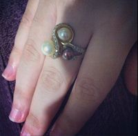 Ring in 18k Gold 750 with diamonds and natural pearls in yellow, white and chocolate colors -
