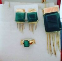 Conjunto de peças em Ouro 18k 750 e esmeraldas bahia: anel, pingente e brincos -