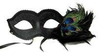 DÚZIA Masquerade máscaras venezianas em massa | com penas de pavão 1846D -