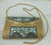 Tibetan brass metal coral clutch evening bags for party -