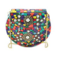 Indian mosaic metal clutch bags for womens -