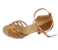 Lady bronze satin five-belt Latin dance practice shoes -