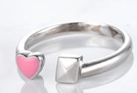 925纯银心形戒指,配以粉红色珐琅质 -
