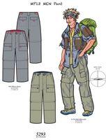 男士斜纹布/帆布6口袋长裤 -