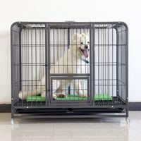 Fondo negro y plata jaula de animal doméstico del patrón, arco jaula de perro tubo cuadrado -
