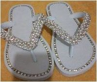 Slippers/ Flip Flops Embroidered With Rhinestones And Pearl -