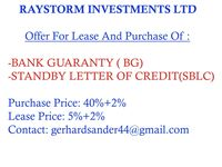 Offering BG/SBLC for lease or purchase -